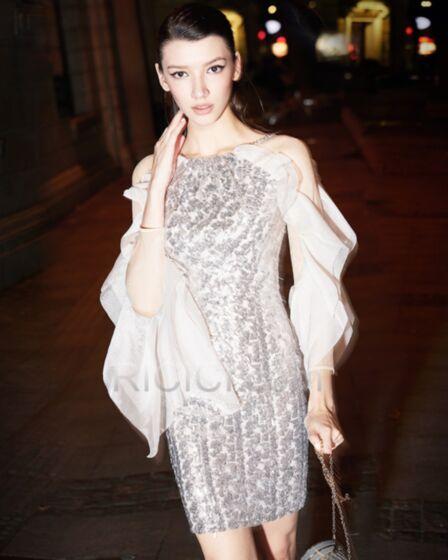 Long Sleeve 2018 Occasion Dress Sequin Short Prom Dress Sheath