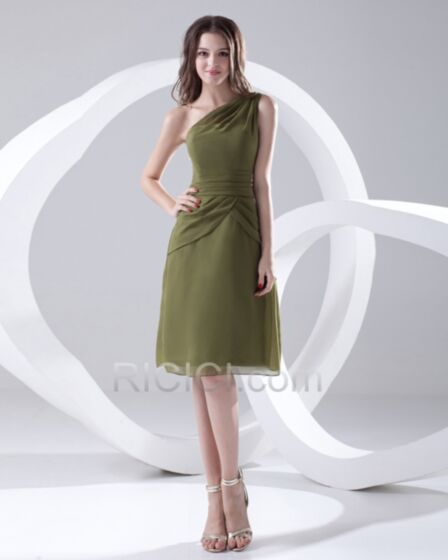 Princess Bridesmaid Dresses Backless Olive Green Chiffon Party Gowns One Shoulder Simple