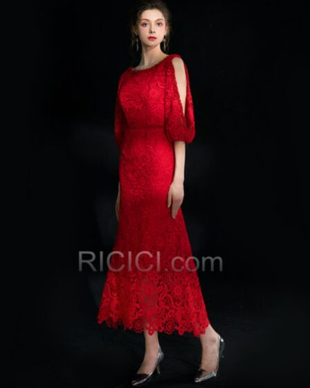 Scoop Neck Elegant Lace Red Dress For Wedding Guest Ankle Length Backless 2018 Princess Cocktail Dresses