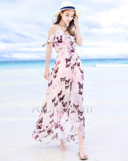 Bohemian Long Summer Slit Empire Open Back Printed Peplum Ruffle Dresses Spaghetti Strap Chiffon Low Cut Beachwear Cute