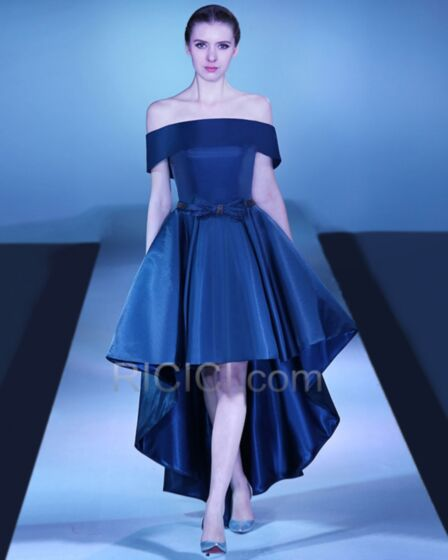 Short Bridesmaid Dresses Navy Blue High Low Sleeveless Ruffle Satin Simple Off The Shoulder Vintage Backless