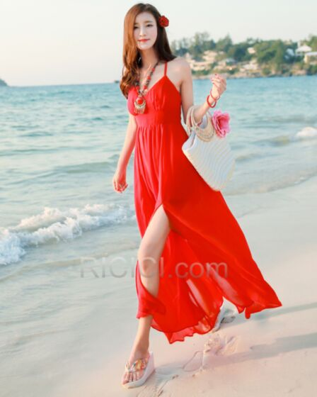 Sexy Long Summer Spaghetti Strap Dress Beachwear Sleeveless Open Back Empire Slit Chiffon