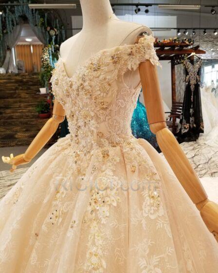 Long Wedding Dress Off The Shoulder Lace Plunge Glitter Ball Gowns Sleeveless Bohemian Elegant