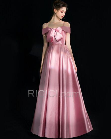 2018 Long Prom Dresses Spaghetti Strap Off The Shoulder Evening Dress Light Pink Vintage Princess Backless Bow