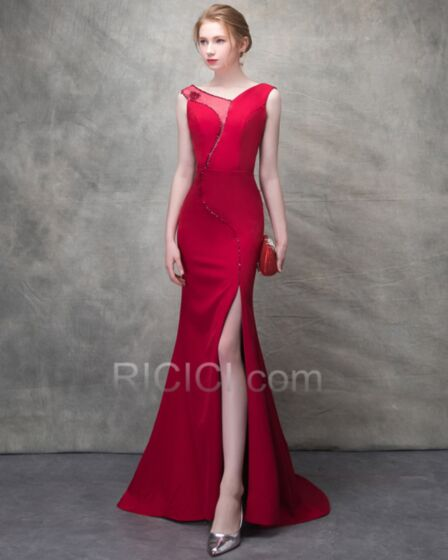 Mermaid Long Sexy Elegant Evening Dresses Tulle 2018 Charmeuse Sheath V Neck Beaded