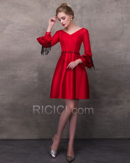 Red Lace Simple Elegant Long Sleeve Skater Cocktail Dress Summer 2018 Bell Sleeve Short Fit And Flare