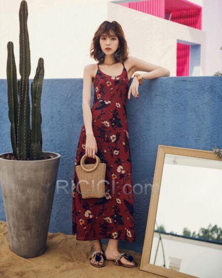 Burgundy Chiffon Backless Long Dress Slip Dress Beachwear Summer A Line Boho