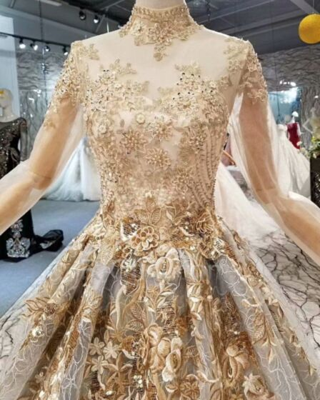 Princess Wedding Dresses Luxury Lace Embroidered Long Sleeve Beading High Neck Gold Long Transparent