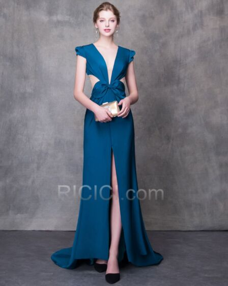 Hollow Out Backless Prom Dresses 2018 Plunge Long Evening Dresses Bow Princess Charmeuse Party Dress Sexy Dark Blue