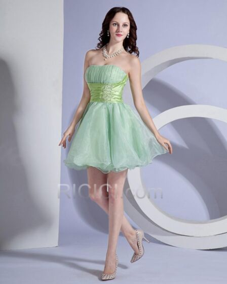 Ruffle Cute Short Open Back Cocktail Dress Simple Organza Mint Green Fit And Flare Pleated