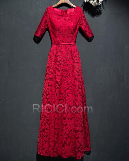 Long Evening Dresses Wedding Guest Dresses Modest Lace Half Sleeve Mother Of Bridal Dress Elegant