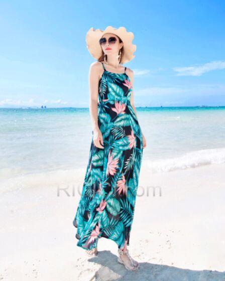 Smock Backless Dark Green Dresses Summer Spaghetti Strap Beach Dress Swing Bohemian Slip Dress