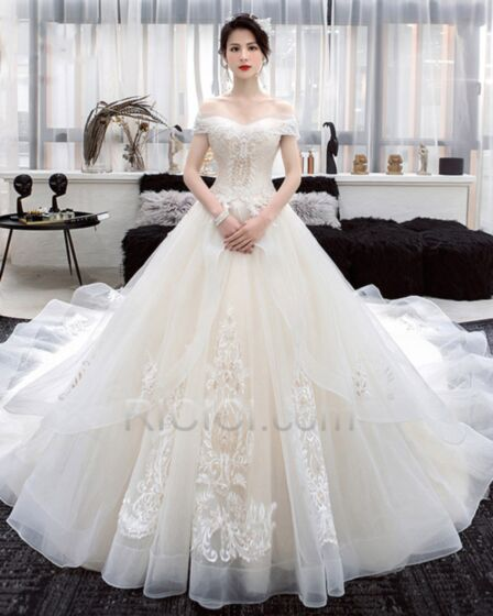 Backless Beaded Appliques Long Tulle A Line Ivory Lace Short Sleeve Off The Shoulder Luxury Bridal Gowns