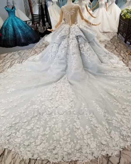 Ball Gowns Long Sleeves Low Cut Gray Sweet 16 Dresses Glitter Quinceanera Dresses With Train Lace Charming Transparent Sparkly Prom Dress Open Back