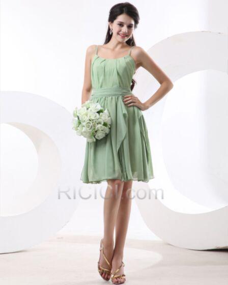Straight Bridesmaid Dresses Sage Green Simple Short Chiffon Dress For Wedding Ruffle