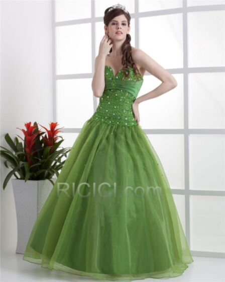 Tulle Sweet 16 Dress Sweetheart Prom Dress Summer Quinceanera Dresses Long Ball Gowns Flounce Beading Olive Green Sleeveless Bandeau