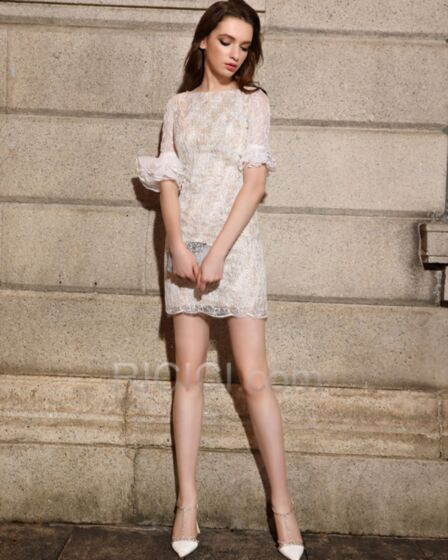 Sheath Short Lace Semi Formal Dress White Sequin Cocktail Dress For Teens Bell Sleeve Sparkly