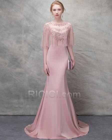 Mermaid Sheath Spring Beading Evening Dresses See Through Open Back Long Sweet 16 Dress Elegant Peplum