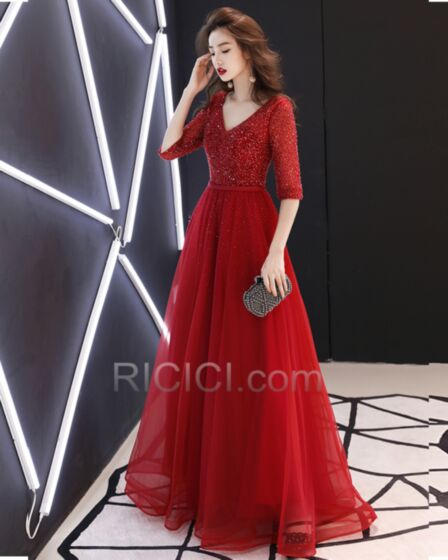 Gorgeous A Line Sparkly Prom Dress Burgundy Sweet 16 Dresses 2018 Sequin Tulle Gala Dress Beading Backless