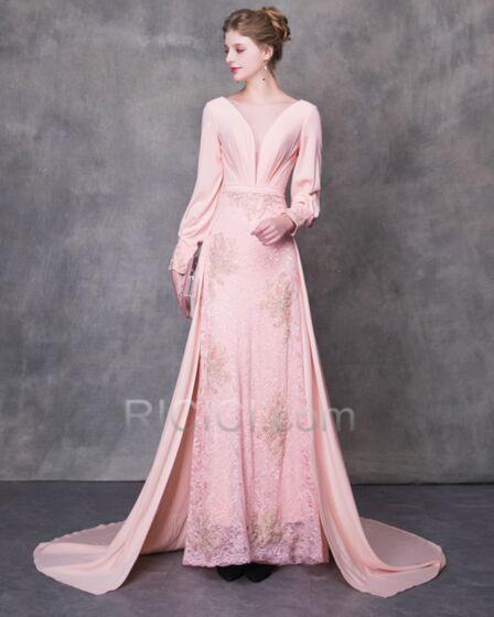 Elegant Lace Backless Long Prom Dresses Plunge Princess Evening Dresses Long Sleeve Tulle