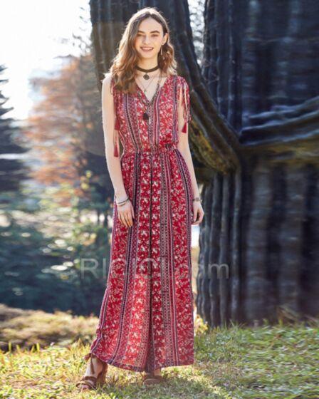 Wide Leg Pants Sleeveless Everyday Dress Summer Red Maxi Floral Jumpsuits Chiffon