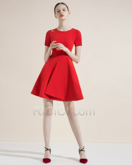 Cheap Fit And Flare Satin Flounce Red Short Cocktail Dresses Wedding Party Dress Simple Semi Formal Dress Ricici Com