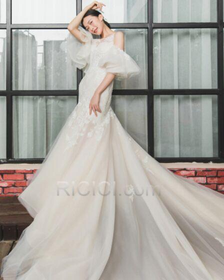 Garden Summer Mermaid Wedding Dress Long Appliques Lace Beach Bell Sleeve Ivory