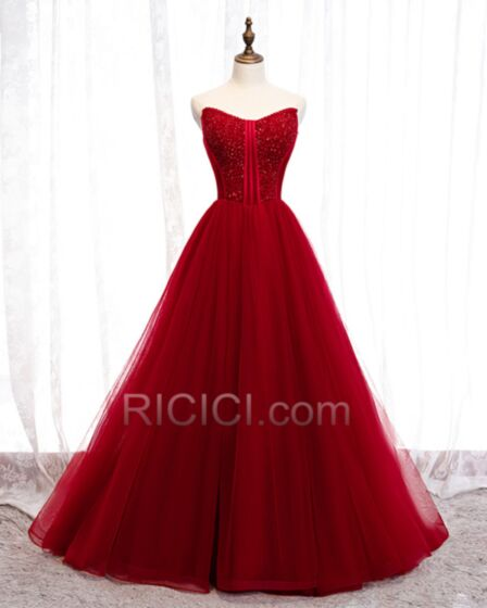 Quinceanera Dress Long Prom Dress Strapless Tulle Ball Gowns Sequin
