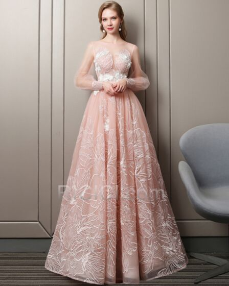 Long Sleeve See Through Tulle 2018 Prom Dress Maxi Lace Peach A Line Simple