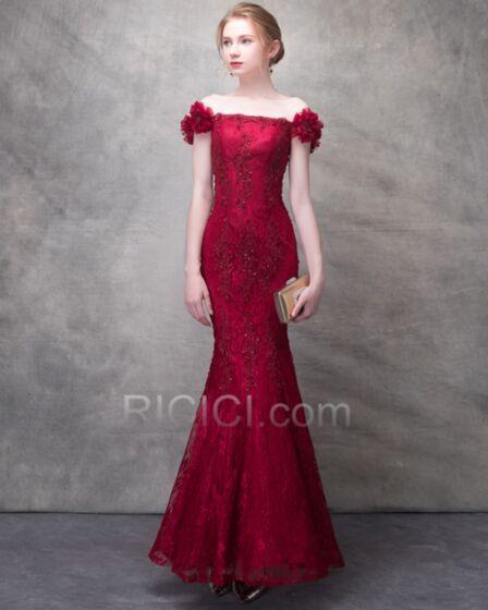 Mermaid Long Sheath Red Lace 2018 Off The Shoulder Appliques Backless Elegant Bridals Wedding Dress