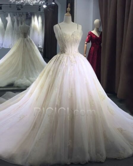 Lace Ball Gowns Tulle Sequin Appliques 2018 Wedding Dresses