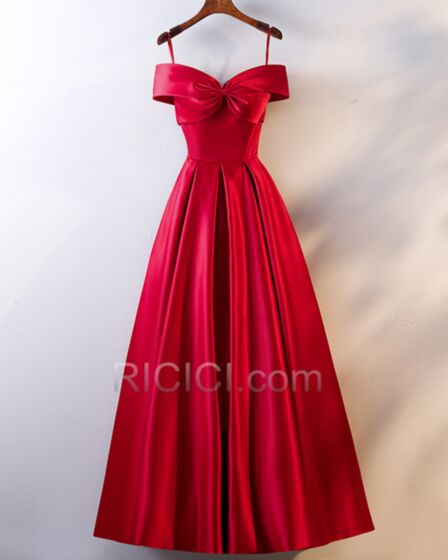 Long Empire Red Evening Dress Simple Spaghetti Strap Backless Satin Bridesmaid Dress