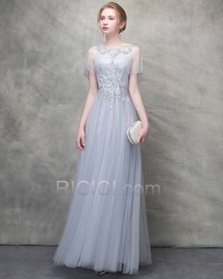 Long Evening Dresses Bridesmaid Dress Appliques A Line Spaghetti Strap Tulle Silver