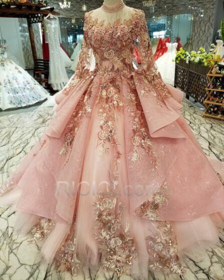 Prom Dress Ruffle Luxury Open Back Vintage Sweet 16 Dress Lace High Neck Blushing Pink Peplum Quinceanera Dress