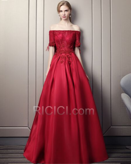 Fit And Flare Long Burgundy Appliques Backless Prom Dress Off The Shoulder Gorgeous Juniors Sexy Satin Evening Dresses