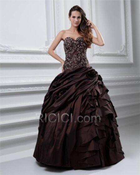 Strapless Prom Dress Sleeveless Long Vintage Ball Gown Beading