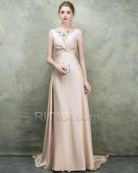 Beautiful Evening Dress Low Cut Open Back Long Beaded Sleeveless Nude Empire