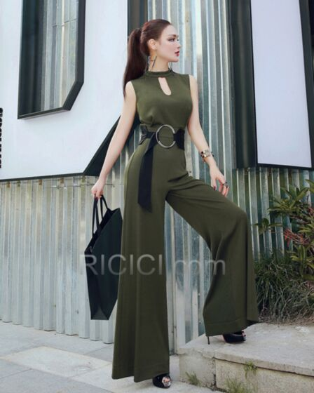Long High Waisted Pants Cute Out Olive Green Plunge Going Out Choker Neck Fashion Jumpsuits Outfits