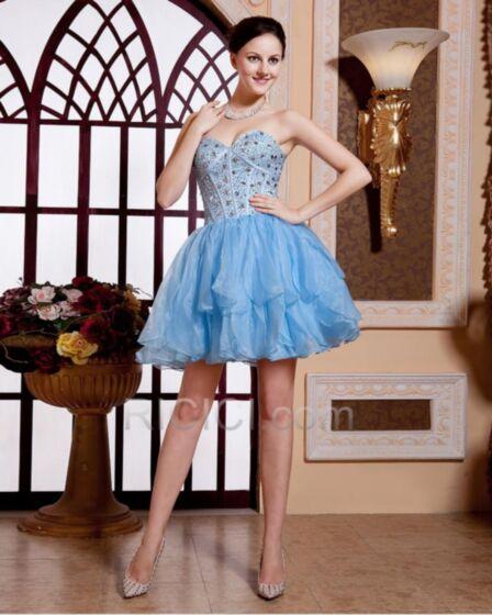 Sweetheart Beading Short Ruffle Corset Sky Blue Cocktail Dresses Sleeveless Organza Cute Summer Open Back