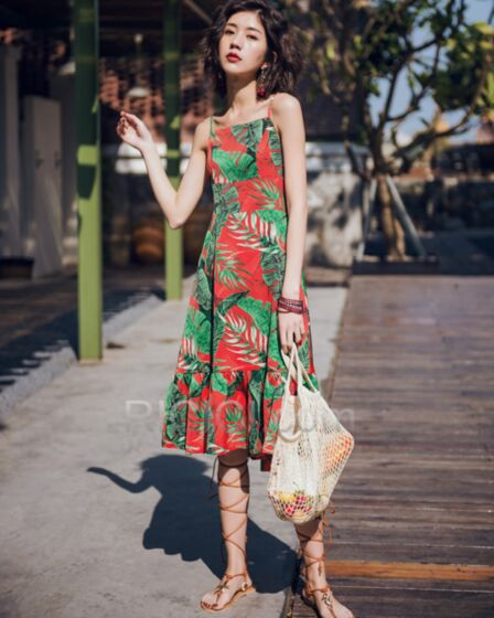 Spaghetti Strap Colorful Open Back Princess Beachwear 2018 Polyester Summer Dresses Bowknot Midi Bohemian