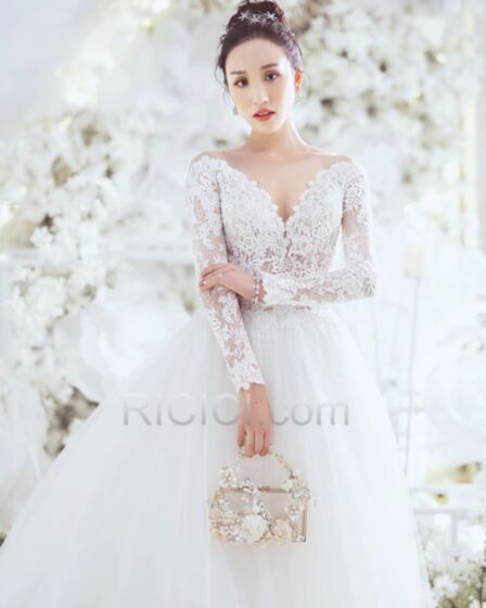 Lace Long Sleeved Backless Plunge Ball Gowns Bridals Wedding Dress Gorgeous Long White