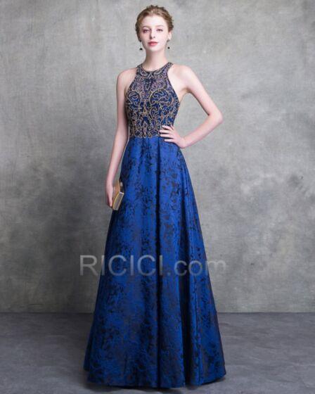 Formal Evening Dresses Elegant Open Back Prom Dress A Line Lace Charmeuse Halter Royal Blue