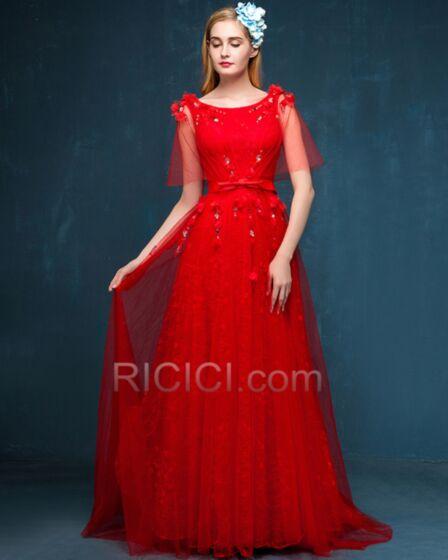 Scoop Neck A Line Summer Elegant Lace Formal Dresses Bridesmaid Dresses Long Red Prom Dress