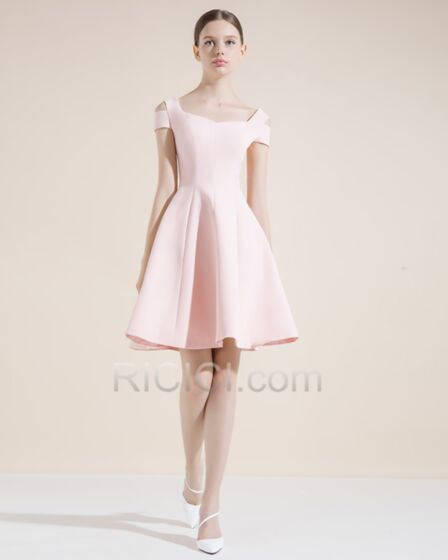 Short Blush Pink Square Neck Fit And Flare Cocktail Dress Flounce Simple Hollow Out Juniors Semi Formal Dresses