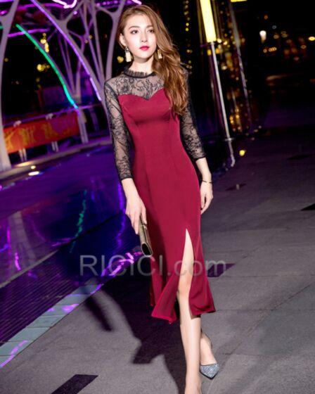 Split Lace Long Sleeve 2019 High Neck Semi Formal Dress Burgundy Dress For Wedding Elegant Simple