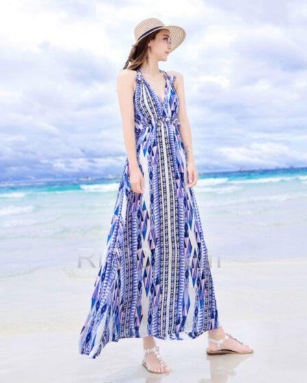 Empire Sexy Bohemian Long Sky Blue Halter Dress Summer Beachwear