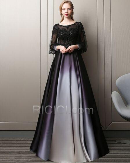 Princess Scoop Neck Long Lace Transparent Prom Dresses Long Sleeve Appliques Fit And Flare Black Flounce