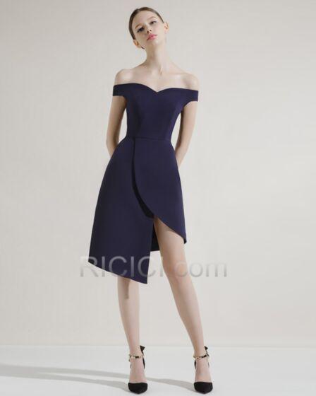Semi Formal Dresses Elegant Cocktail Dress Off The Shoulder Asymmetrical Slit Wedding Guest Dress Backless Satin Simple