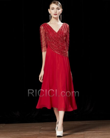 Open Back Tea Length Beaded Cocktail Dresses Sparkly Princess Chiffon Red Sequin