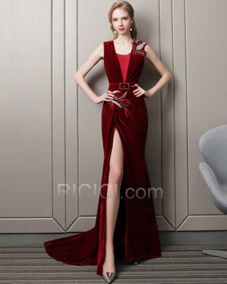 Low Cut Evening Dresses Velvet Empire Slit